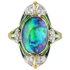 Louis Comfort Tiffany & Co. Black Opal, Diamond and Enamel Ring