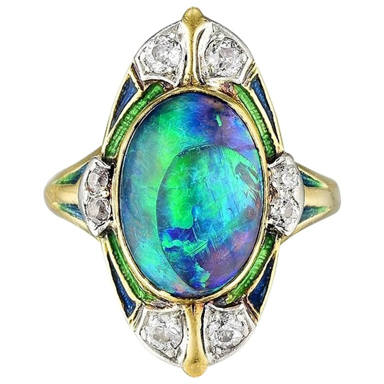 Louis Comfort Tiffany And Co Black Opal Diamond And