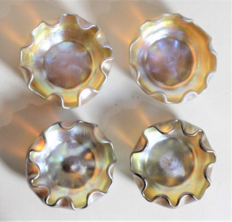 American Louis Comfort Tiffany LCT Gold Favrile Art Glass Open Salt Cellar Set For Sale