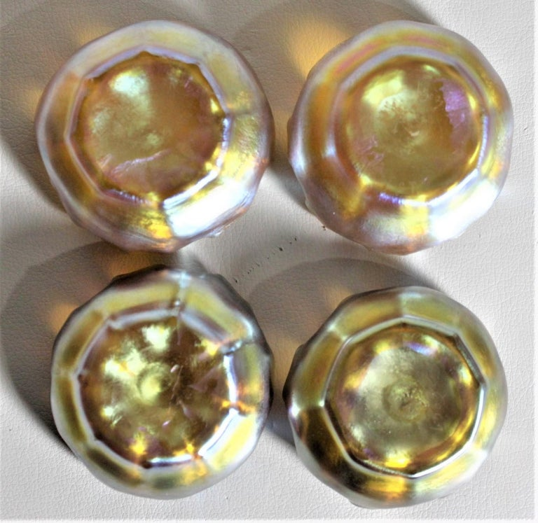 Louis Comfort Tiffany LCT Gold Favrile Art Glass Open Salt Cellar Set In Good Condition For Sale In Hamilton, Ontario