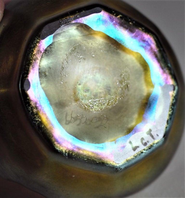 19th Century Louis Comfort Tiffany LCT Gold Favrile Art Glass Open Salt Cellar Set For Sale