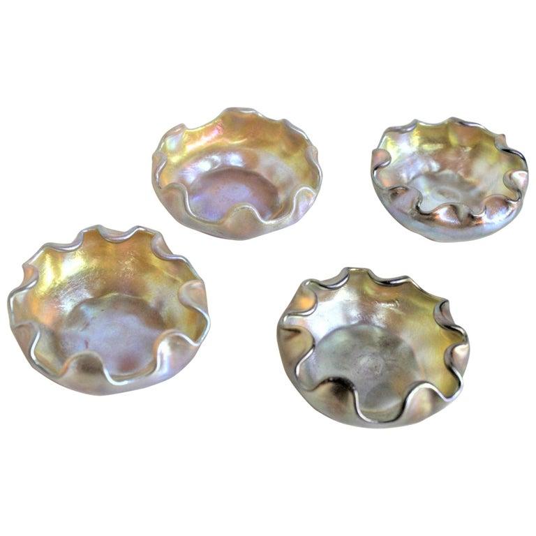 Louis Comfort Tiffany LCT Gold Favrile Art Glass Open Salt Cellar Set For Sale