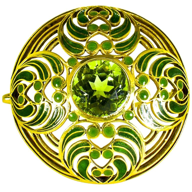 Louis Comfort Tiffany Plique a Jour Enamel and Tourmaline Brooch, circa 1900 For Sale