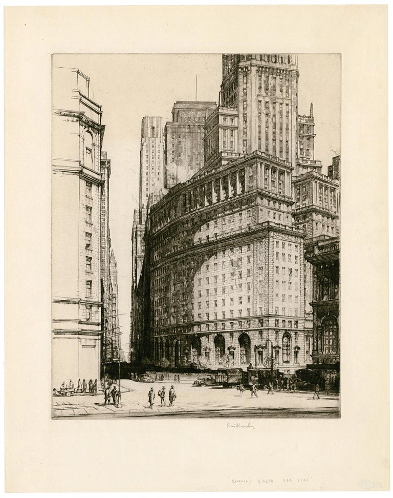 Bowling Green, New York - Print by Louis Conrad Rosenberg
