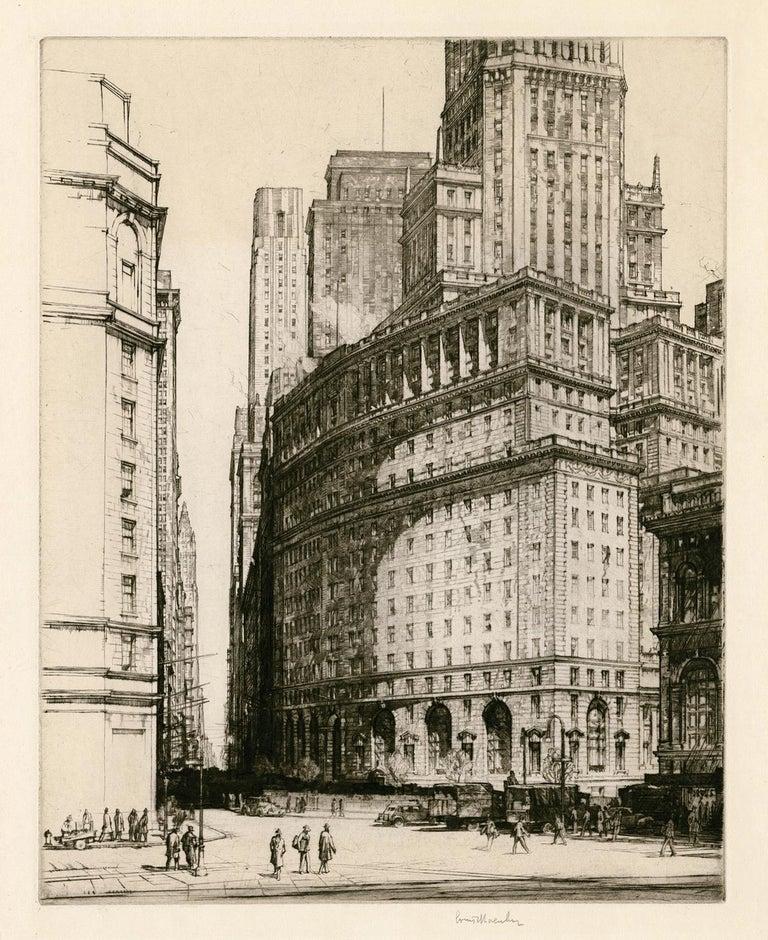 Louis Conrad Rosenberg Figurative Print - Bowling Green, New York