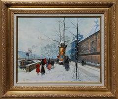 Along the Seine, Landscape Painting by Louis Dancourt