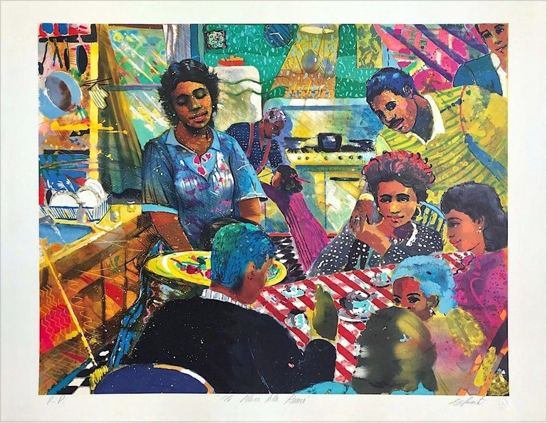 Louis Delsarte Figurative Print - NO PLACE LIKE HOME Signed Lithograph, African American Culture, Family Dinner