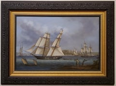 Louis Dodd Marine Painting of the US Big Truxton outbound from Boston