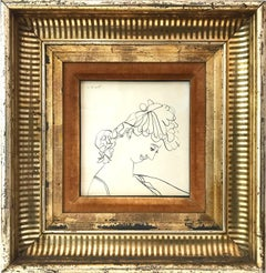 """""""Modernist Portrait of Woman's Face"""" Signed Mid Century Ink Work on Paper"""