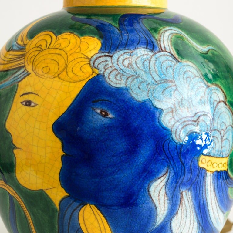 French Louis Drimmer Ceramic Table Lamp with Blue & Yellow Faces on Green Body, France For Sale