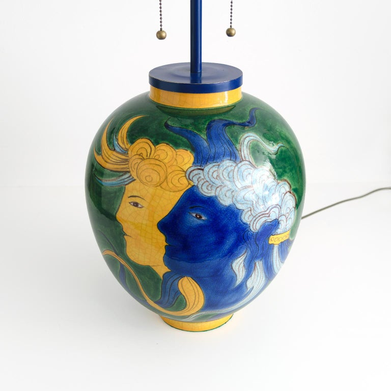 Glazed Louis Drimmer Ceramic Table Lamp with Blue & Yellow Faces on Green Body, France For Sale