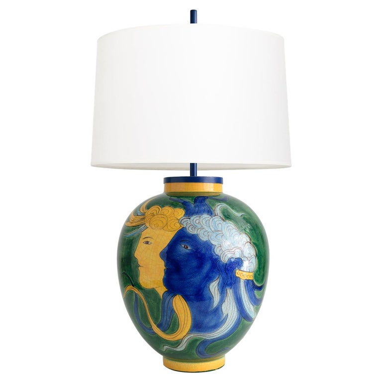 Louis Drimmer Ceramic Table Lamp with Blue & Yellow Faces on Green Body, France For Sale