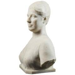 Louis Dubar, Marmor Buste of Female Head, Signed