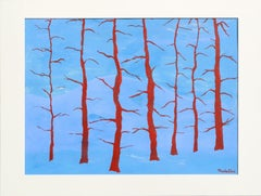 Red Trees Hard-Edge Landscape