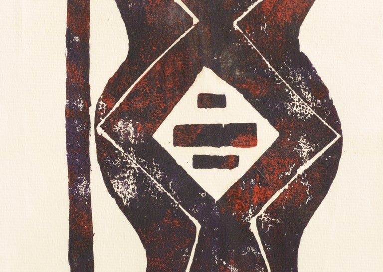 Bold abstract geometric lithograph by Louis Nadalini (American, 1927-1995). Signed
