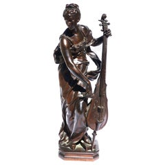 Louis Ernest Barrias Bronze of a Woman Playing the Cello