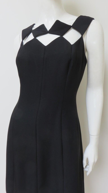 Black Louis Estevez 1960s Geometric Cut out Dress For Sale