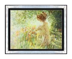 Louis Fabien Oil Painting On Canvas Nude Female Landscape Signed Original Art