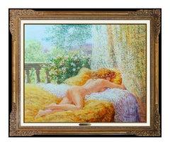 Louis Fabien Original Oil Painting On Canvas Nude Female Portrait Signed Artwork