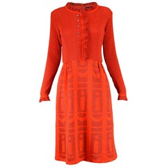 Louis Feraud 1970s Vintage Red Knit Dress