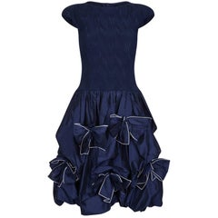 Louis Feraud 1980s or 1990s Navy Silk Taffeta Dress With Bow Embellishments