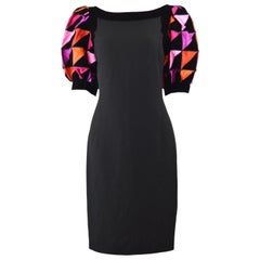 Louis Feraud 1980s Vintage Black Crepe & Pink Silk Puff Sleeve Party Dress