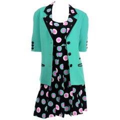 Louis Feraud 3Pc Suit Silk Black Green & Pink Dot 2pc Dress & Mint Green Jacket