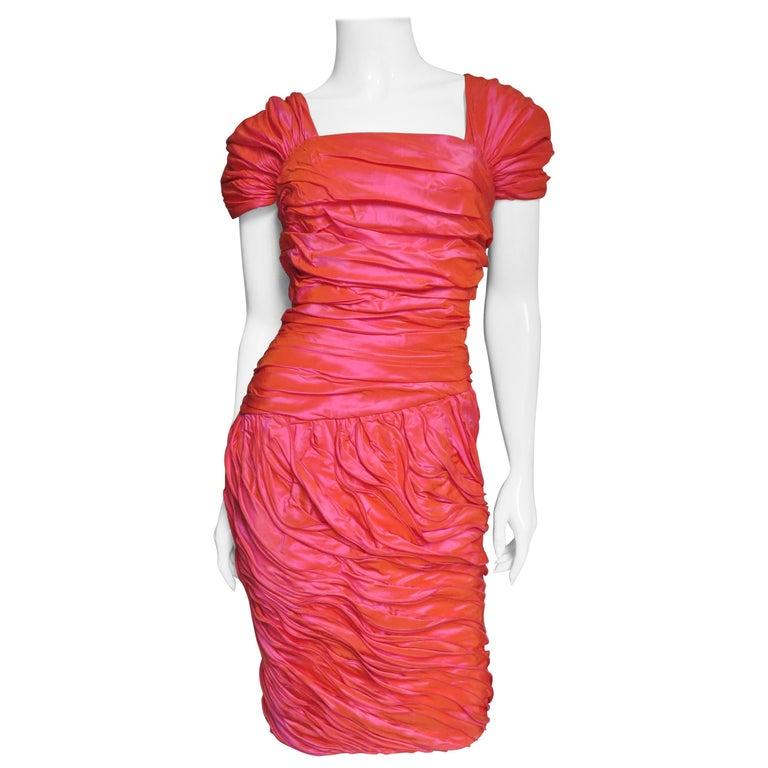 Louis Feraud Adjustable Ruffles Dress 1980s For Sale