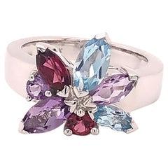 Louis Feraud Aquamarine, Amethyst and Garnet Cluster Ring