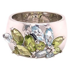 Louis Feraud Aquamarine and Peridot Cluster Wide Band Ring