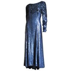 Louis Feraud Beaded Silk Gown 1980s
