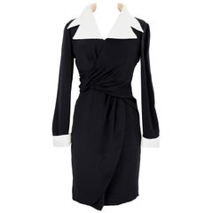 Louis Feraud Black Beige Silk Sheath Dress