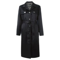 Louis Feraud Black Silk and Wool Satin Trench Coat