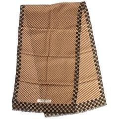Louis Feraud Brown Black Wool Scarf