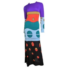 Louis Feraud Color Block Maxi Dress 1970s