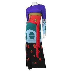 Louis Feraud Color Block Maxi Dress 1970s