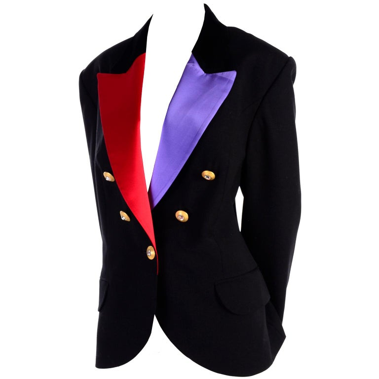 63d394e8088 Louis Feraud Evening Tuxedo Jacket Blazer in Black W/ Purple & Red Satin  Lapels For