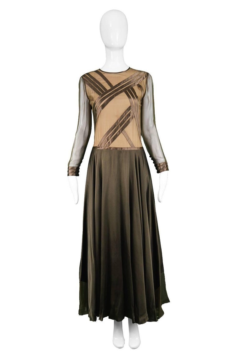 Louis Féraud Haute Couture Brown Sheer Silk Chiffon & Bias Cut Satin Gown, 1970s  Click 'CONTINUE READING' below to see size & description.   A breathtaking and incredibly rare vintage evening dress from the 70s by legendary French couturier and