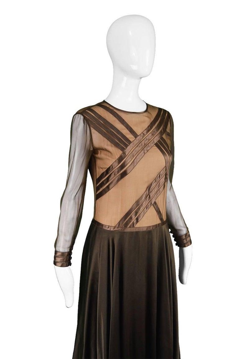 Black Louis Feraud Haute Couture Brown Sheer Silk Chiffon / Bias Cut Satin Gown, 1970s For Sale