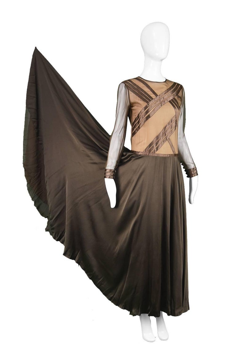 Louis Feraud Haute Couture Brown Sheer Silk Chiffon / Bias Cut Satin Gown, 1970s In Good Condition For Sale In Doncaster, South Yorkshire