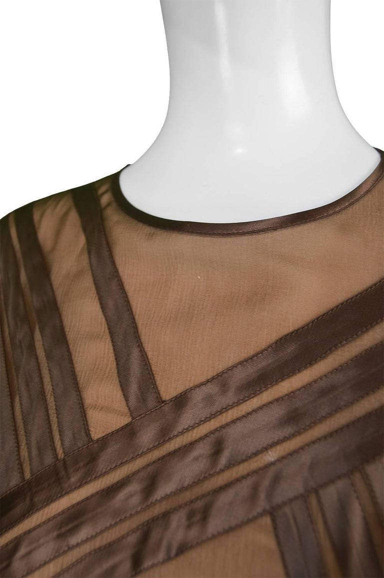 Women's Louis Feraud Haute Couture Brown Sheer Silk Chiffon / Bias Cut Satin Gown, 1970s For Sale