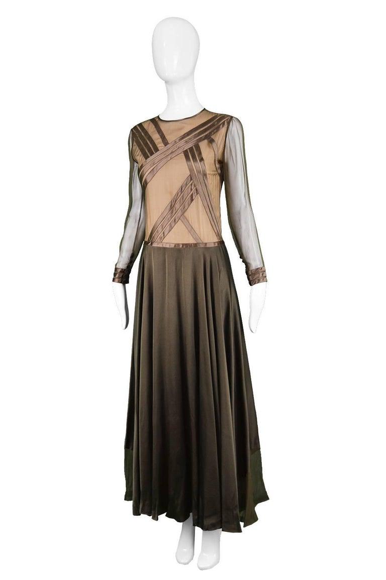 Louis Feraud Haute Couture Brown Sheer Silk Chiffon / Bias Cut Satin Gown, 1970s For Sale 1