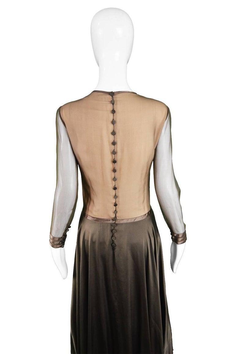 Louis Feraud Haute Couture Brown Sheer Silk Chiffon / Bias Cut Satin Gown, 1970s For Sale 2
