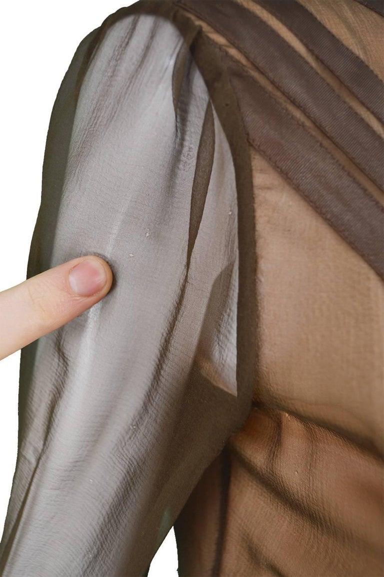 Louis Feraud Haute Couture Brown Sheer Silk Chiffon / Bias Cut Satin Gown, 1970s For Sale 4