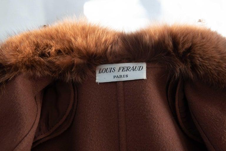 Louis Feraud Haute Couture Brown Silk, Cashmere, Fox Fur Dress and Coat 6