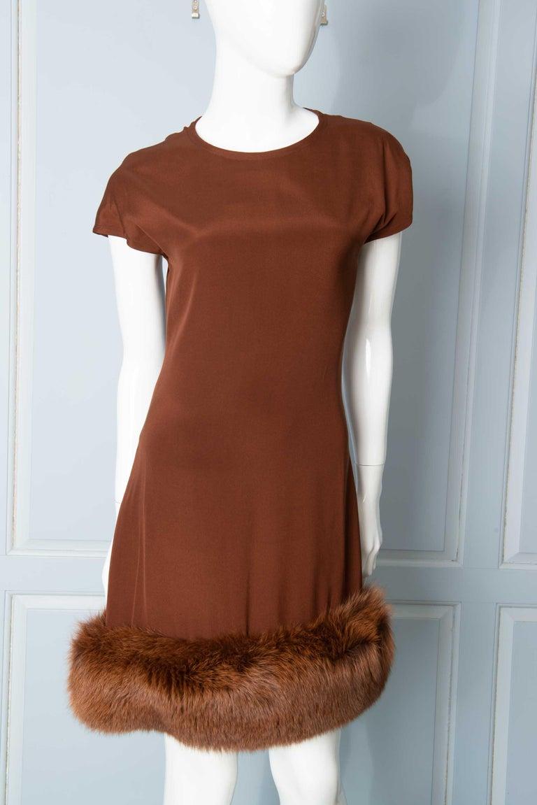 Louis Feraud Haute Couture Brown Silk, Cashmere, Fox Fur Dress and Coat 7