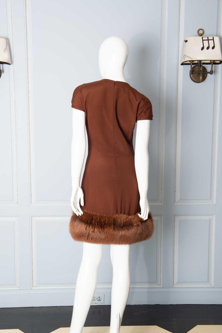 Louis Feraud Haute Couture Brown Silk, Cashmere, Fox Fur Dress and Coat 8