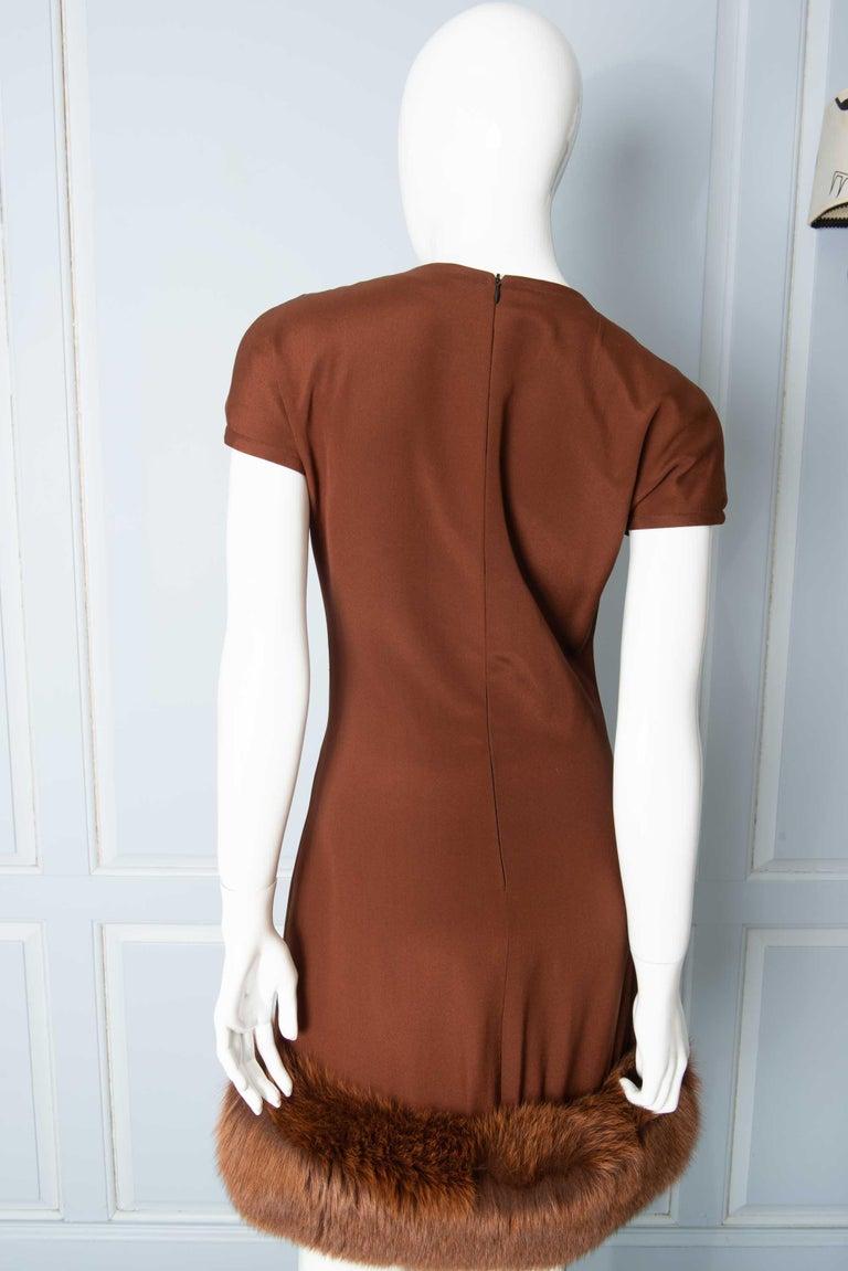 Louis Feraud Haute Couture Brown Silk, Cashmere, Fox Fur Dress and Coat 9