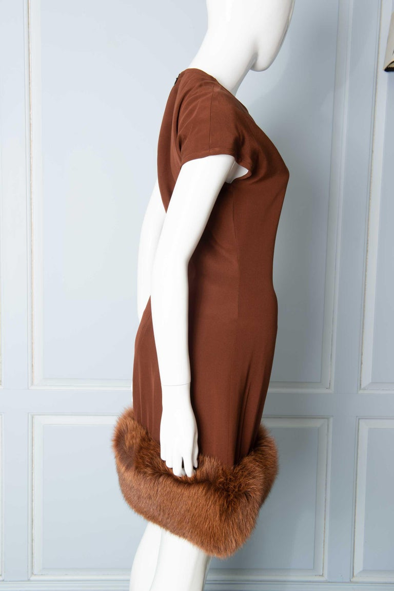 Louis Feraud Haute Couture Brown Silk, Cashmere, Fox Fur Dress and Coat 10