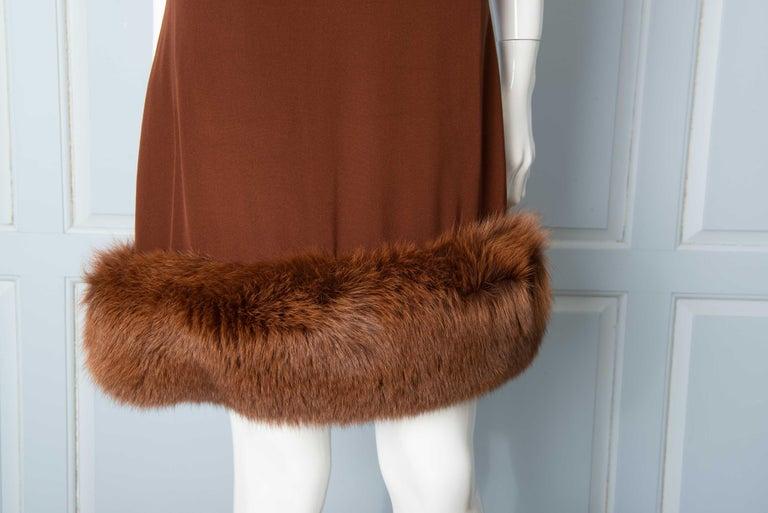 Louis Feraud Haute Couture Brown Silk, Cashmere, Fox Fur Dress and Coat 11